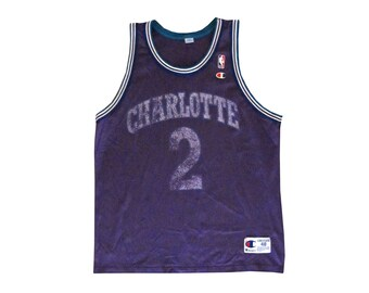 Vintage Larry Johnson Charlotte Hornets Purple Faded Champion Basketball  Jersey 48 2 Worn Sportswear 90s Large XL ea9ef7952