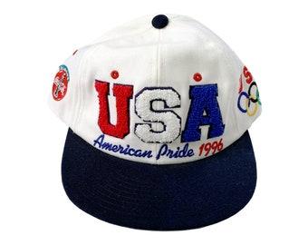 94324e43ec019 Vintage USA Atlanta 1996 Olympics Starter White Snapback Baseball Hat 90s  Sportswear