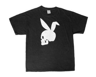 2d26c4c0 Vintage Playboy Skull Black T-Shirt Large 90s Smoke Head Shop Bootleg Bunny  Ears