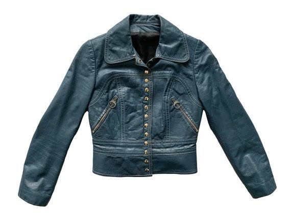 Womens Acme Blue Leather Jacket