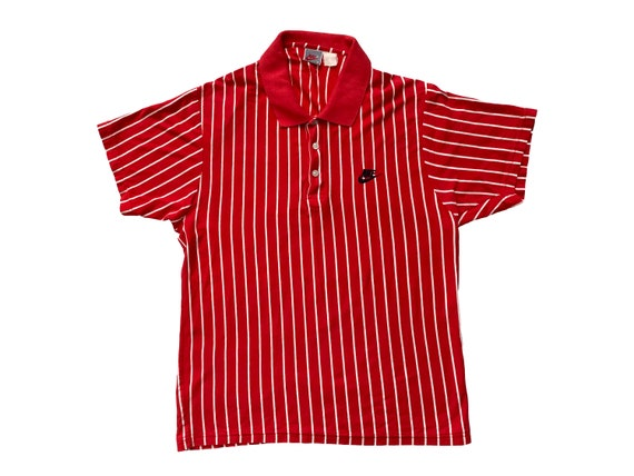 Nike Bootleg Red & White Pin Stripe Polo