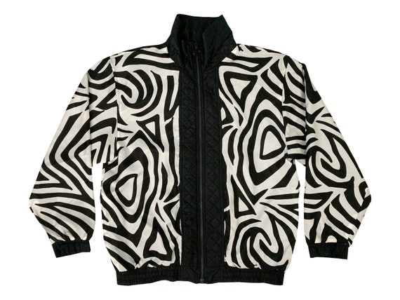 Black & White Abstract Graphic Silk Jacket