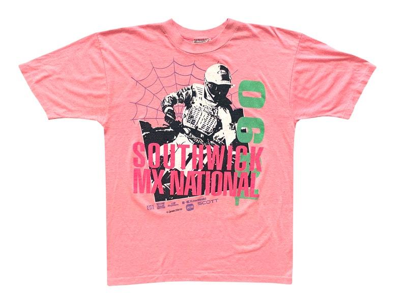 60579da1adf9a Vintage Southwick MX National Dirt Bike Race Pink T-Shirt Medium Sportswear  Massachusetts 90s Kawasaki Motocross 50/50 spider web
