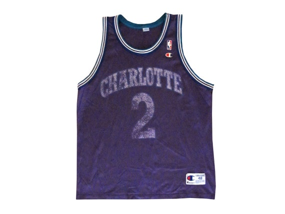 Vintage Larry Johnson Charlotte Hornets Purple Faded Champion  46d460525