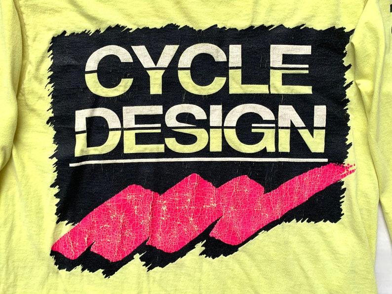 38d28f4c923e2 Vintage Cycle Designs Neon Dirt Bike Motocross BMX Style Yellow Long Sleeve  Shirt Medium Sportswesr
