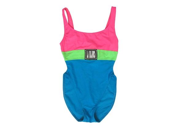 Vintage La Blanca Neon One Piece Swimsuit Size 8 Sportswear Bathing Suit Resort Nylon Spandex USA Pink Green Blue