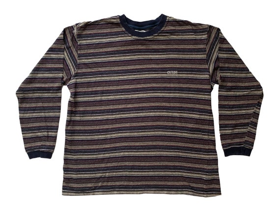 Guess USA Multi Color Stripe Embroidered L/S Shirt