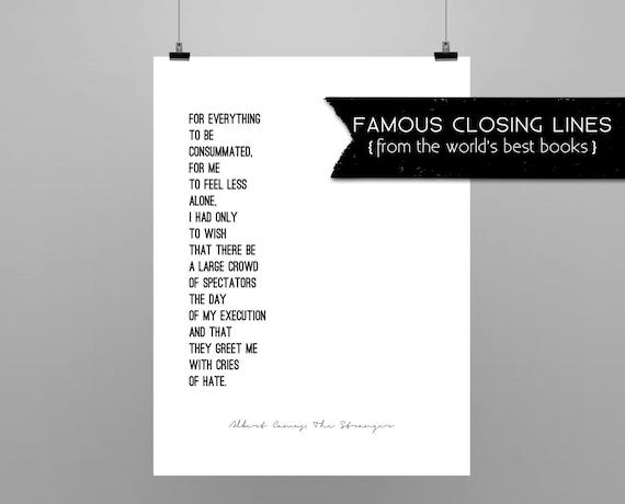 De Vreemdeling Albert Camus Quote Poster Minimalistische Zwart Wit Laatste Lijn Van Albert Camus De Vreemdeling