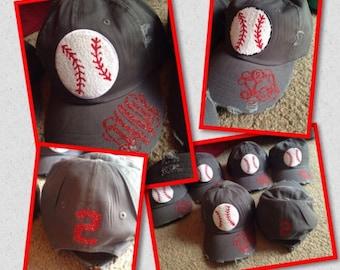 Baseball mom hat with monogram