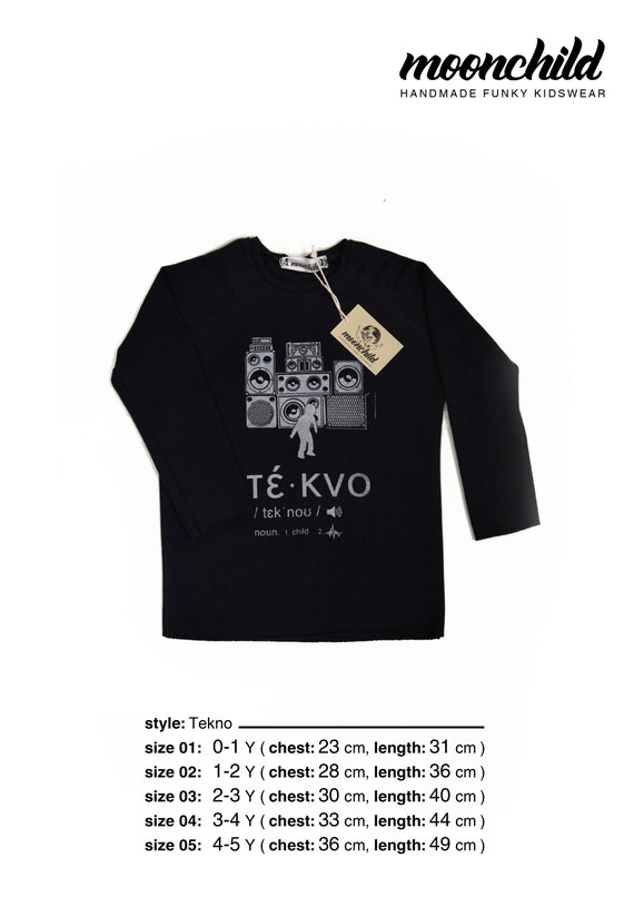 Tekno L/S T-shirt//SIZE from 0 to 5 Y//Cool Funny Graphic Tee//Music  Tee//Funky Kids Clothing//Gift for Kids//Techno music//Dark Blue