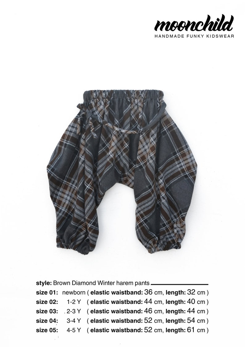ccb5f8ae78bdd Winter Harem Pants for Kids//SIZES from 0 to 5Y//Baby, Toddler, Kid  Pants//Handmade Pants//Ballon Pants//Hippie Kids Clothes//Brown Diamond