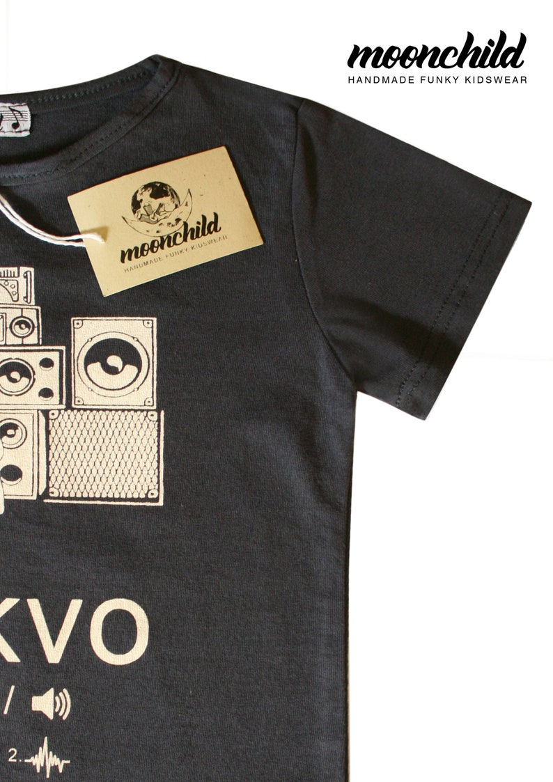 Tekno S/S T-shirt//SIZE from 0 to 5 Y//Funny Graphic Tee//Music Tee//Funky  Kids Clothing//Gift for Kids//Techno Music//Dark Grey//Speakers