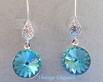 Vintage Elegance - Turquoise Swarovski Crystal Earrings Presented On Sterling Silver Filigree Findings