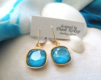 Swarovski Crystal Azure Blue Cushion Cut Earrings Presented on Gold-Filled Lever Back Findings - Crystal Azure Blue Swarovski Earrings