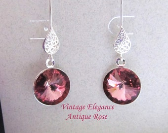 Vintage Elegance - Antique Rose Swarovski Crystal Earrings Presented On Sterling Silver Filigree Findings