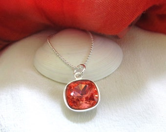 """Padparadscha Cushion Cut Swarovski Crystal Necklace - Pendant Is Suspended On An 18"""" Sterling Silver Chain -  Swarovski Crystal Pendant"""