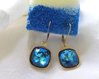 Swarovski Crystal Bermuda Blue Cushion Cut Earrings Presented On Gold-Filled Lever Back Findings Stunning Swarovski Bermuda Blue Earrings