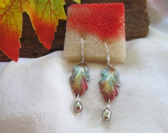 Hand Painted Leaf Earrings Accented  With Fresh Water Dyed Pearl Drops Presented On Sterling Silver Ear Findings -Fall Leaf Earrings   Fall