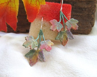 Hand Painted Maple Leaf Earrings - Textures of Fall - Presented On Sterling Silver Ear Findings   Fall Leaf Earrings   Maple Leaf Jewelry