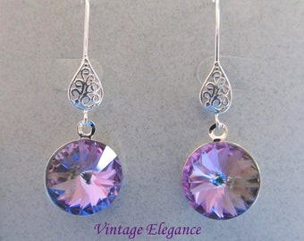Vintage Elegance - Vitrail Light Swarovski Crystal Earrings Presented On Sterling Silver Filigree Findings