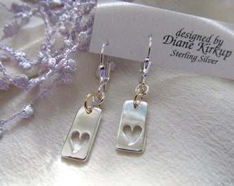 Sterling Silver Heart Earrings Accented With Gold Filled Presented On Sterling Silver Lever Back Findings ... Love With An Open Heart