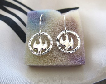 Doves of Peace Sterling Silver Earrings ... Sterling Silver Doves Within A Hammered Sterling Silver Circle ... May Peace Be In Your World