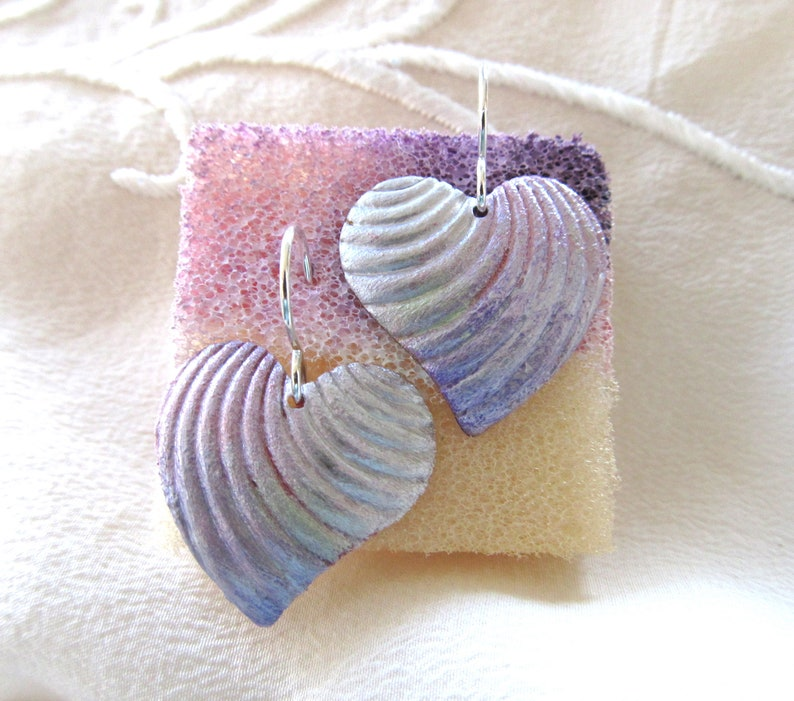 Heart Earrings Soft Hand Painted Heart Earrings by Artist Diane Kirkup Iridescent Colors Presented On Sterling Silver Ear Findings