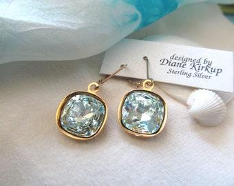 Swarovski Cushion Cut Light Azore Crystal Earrings Presented On Gold-Filled Lever Back Findings - A Soft Sea Foam Green/Blue