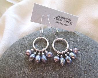 Fresh Water Iridescent Grey/Lavender Pearl Drop Earrings Presented On Sterling Silver Ear Findings - Fresh Water Pearls And Sterling Silver