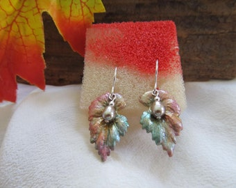 Hand Painted Leaf Earrings An Early Preview of Fall Foliage / Nature At It's Best / Presented On Sterling Silver Ear Findings / Leaves