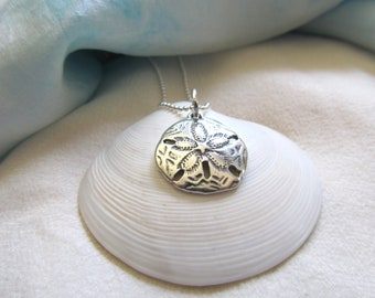 """Sterling Silver Sand Dollar Pendant - Presented On An 18"""" Sterling Silver Chain - Ocean Memories For Those Who Love The Ocean - Sand Dollar"""
