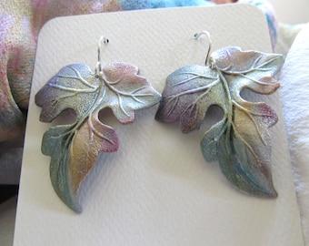 Hand Painted Leaf Earrings By Artist/Designer Diane Kirkup ... One-Of-A-Kind  ...  Wearable Art By Diane Kirkup ... Hand Painted Leaves