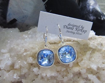 Light Sapphire Swarovski Crystal Cushion Cut Earrings Presented On Sterling Silver Lever Back Findings ... Soft, Elegant and Beautiful