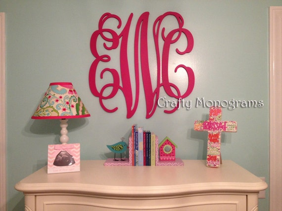 24 x 26 PAINTED Wooden Monogram Initials Wedding Wall Decor Office Decor Painted Housewares Home Decor Hanging Wooden Wall Letters