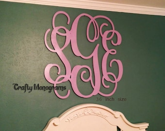 """Wood Monogram Initials, Wall Decor, Hanging Wooden Wall Letters, Wedding, Office Decor Painted Housewares Home Decor PAINTED 35"""""""