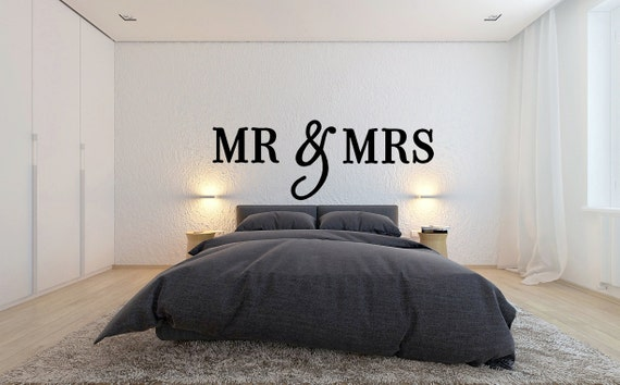 Mr mrs wall sign above bed decor mr and mrs sign for over - Over the bed wall art ...