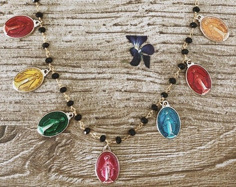 Necklace with black gold rosary chain and enamelled madonnine pendants
