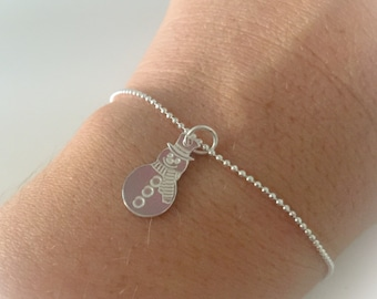 925 sterling silver bracelet with beaded chain and snowman pendant