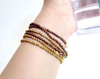 Hematite bracelet in genuine rose gold or gold plated
