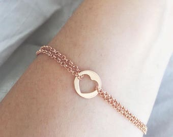 925 sterling silver bracelet pink gold bath with double chain and heart or star pendant