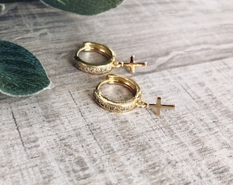 Mini brass hoop earrings with cubic zirconia and cross pendants