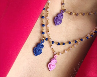 Necklace with rosary chain and sacred heart enameled pendant in various colors