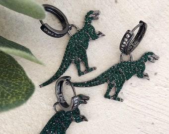 Mono mini circle earring with cubic zirconia and dinosaur pendant - big size