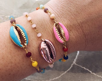 Bracelets with rosary chain and shell enamel brass pendants