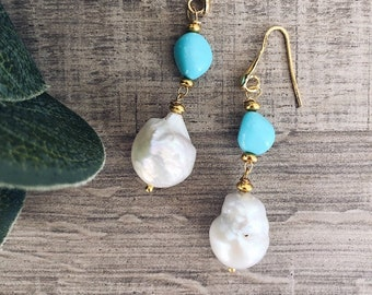 Brass stud earrings, scaramazza pearl and turquoise