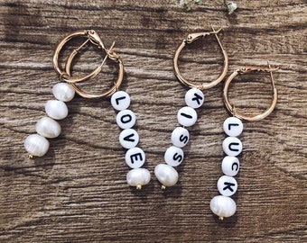 Personalized circle earrings with freshwater pearls and letters