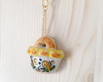 Sicilian Jewelry - Long gold-plated gold plated necklace with hand-painted Caltagirone ceramic Sicilian bag pendant