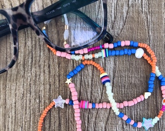 Chain for glasses with multicolor beads