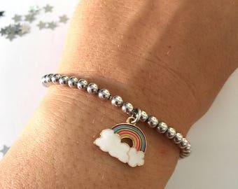 925 silver bead bracelet and enamelled rainbow pendant