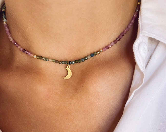 Necklace with multicolor tourmaline stones, gold hematite beads and pendant